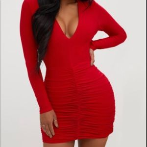 Shaped red slinky dress mini